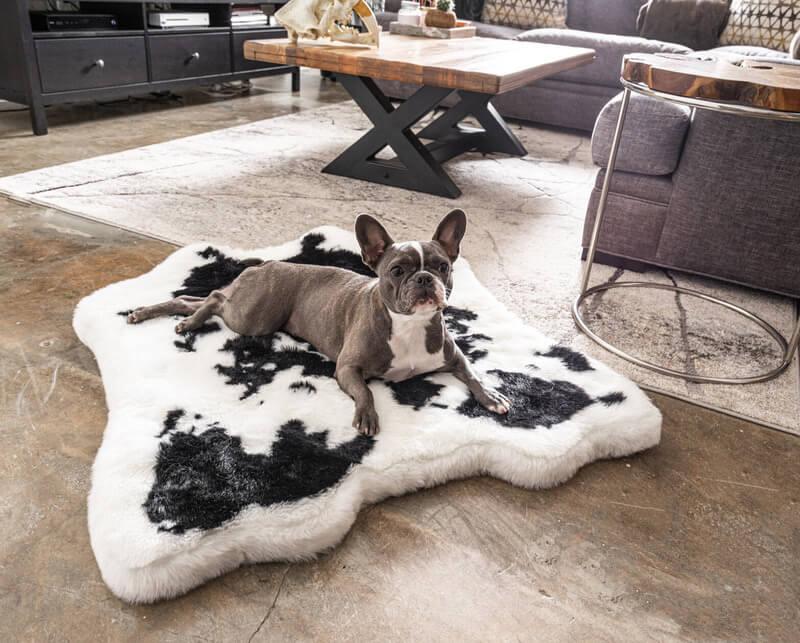 PupRug Black Faux Cowhide Memory Foam Bed